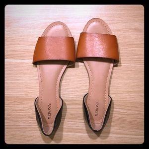 Merona open toed flats. Size 8